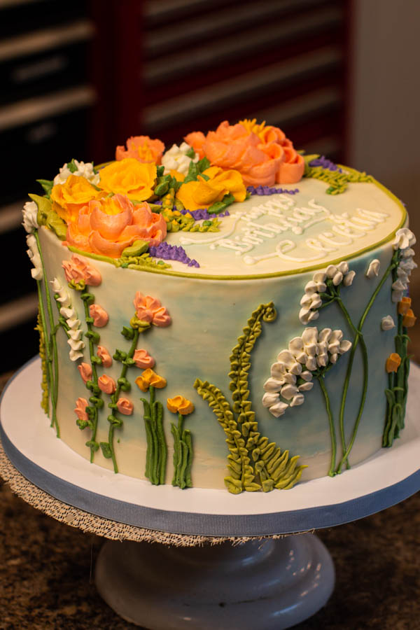 Butter Cream Floral Birthday Cake