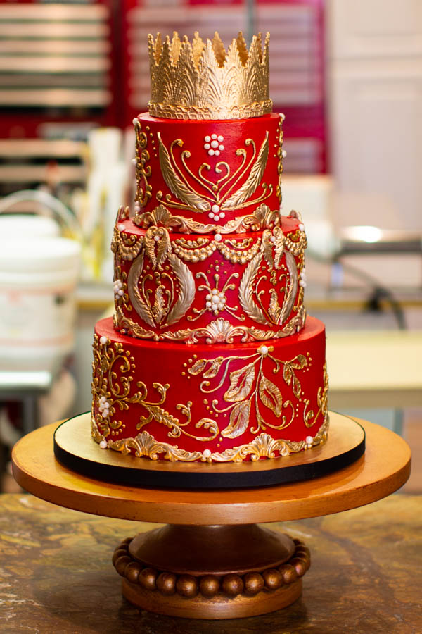 Red Buttercream with Lots of Gold