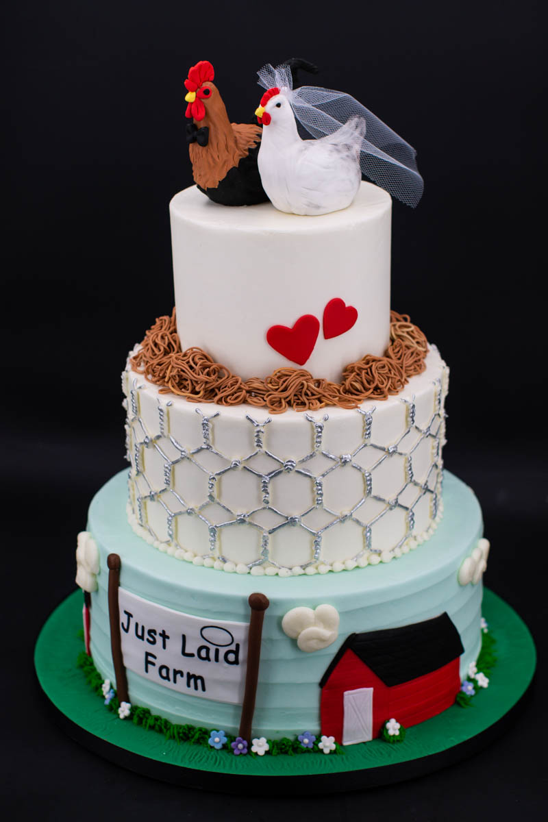 Chicken Coop Wedding Cakes