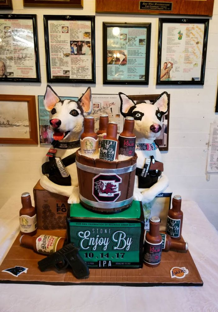 Double Dog Sculpted Grooms Cake
