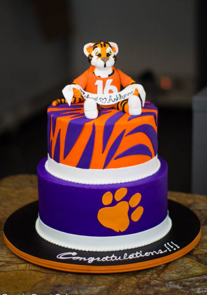 Sculpted Clemson Tigers Grooms Cake