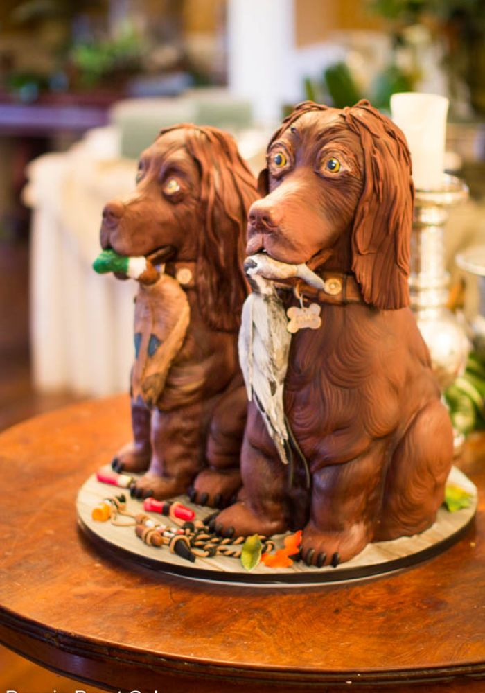 Sculpted Duck Hunting Dogs Cake