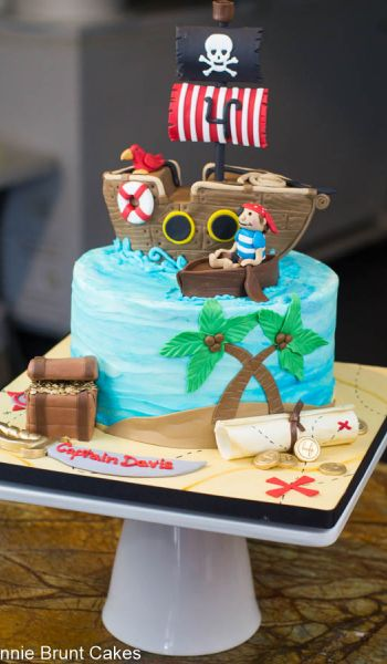 Sculpted Pirate Ship Birthday Cake