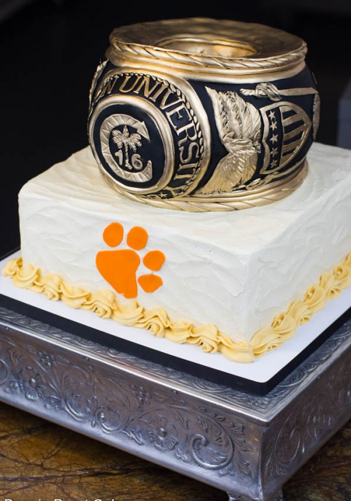 Sculpted Clemson Class Ring Grooms Cake with Base