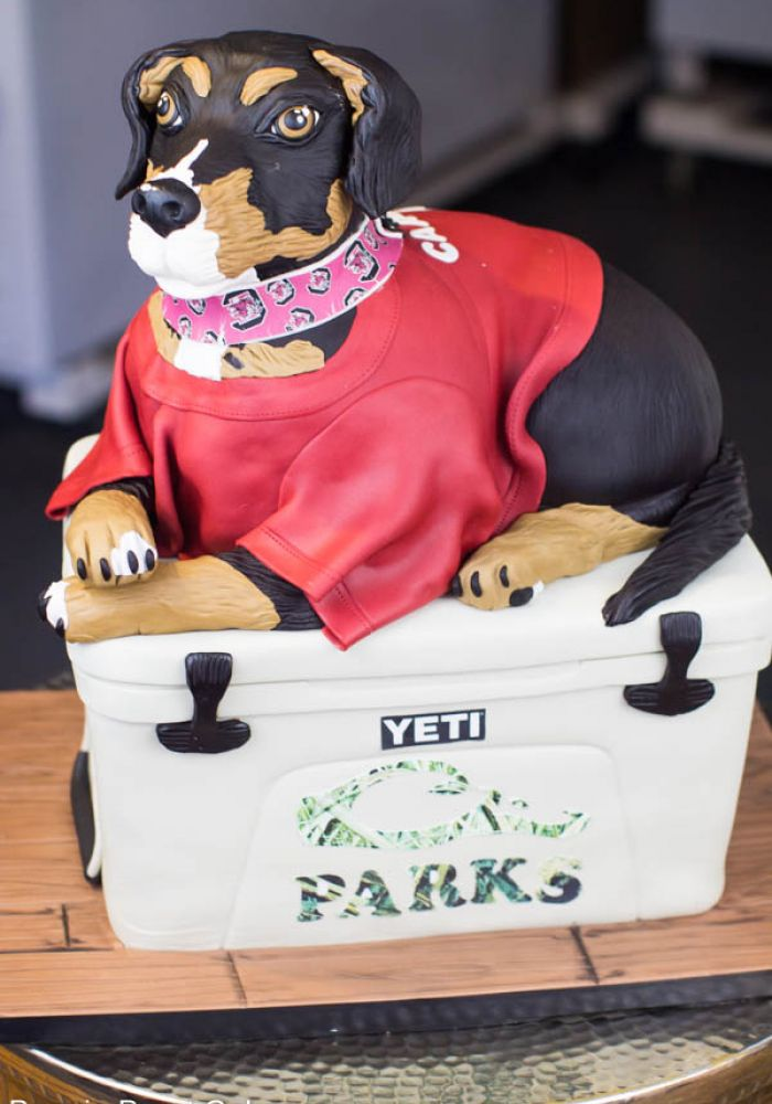 Sculpted Dog in Jersey Grooms Cake