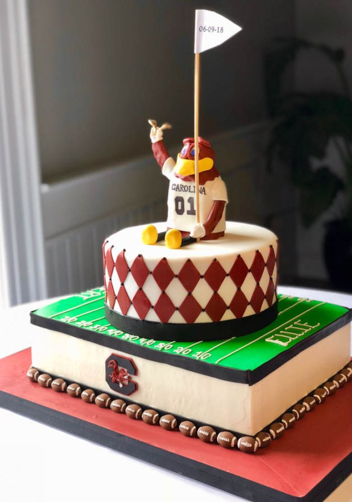 University of South Carolina Football Grooms Cake with Sculpted Cocky Mascot